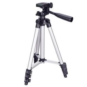 3120 Live Broadcast Tripod 4-section Folding Legs Aluminium Alloy Tripod Mount met U-Shape driedimensionale statiefkop voor DSLR & Digitale Camera  verstelbare hoogte: 34-103cm(Zilver)
