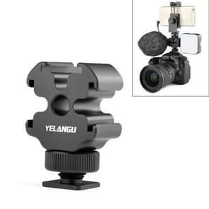 YELANGU YLG0601A A68 3-hoofd koude schoensteun adapter microfoon flash light metal houder beugel (zwart)