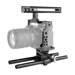 YELANGU C15 YLG0711A Video Camera Cage Stabilizer met Handle & Rail Rod voor Nikon Z6 / Z7(Zwart)