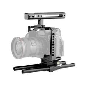 YELANGU C18 YLG0915A-C Video Camera Cage Stabilisator met Handle & Rail Rod Mount voor Panasonic Lumix DC-S1H / DC-S1 / DC-S1R(Zwart)