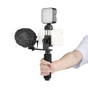 YELANGU PC09 Handheld Grip Holder Bracket + Fotografie Fill Light + Microfoon met Mobile Phone Metal Clamp (Zwart)