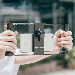 YELANGU PC02A Vlogging Live Broadcast Plastic Cage Video Rig Filmmaking Stabilisator Bracket voor iPhone  Galaxy  Huawei  Xiaomi  HTC  LG  Google en andere smartphones (Zwart)