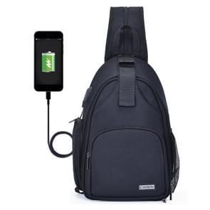 CADen D17-2 Multifunctionele nylon schokbestendige krasbestendige messenger single / schouders tas rugzak rugzak buiten slr camera fotografie rugzaktas met USB-poort & rits voortas(Zwart)