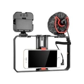 YELANGU PC202 YLG1801B Vlogging Live Broadcast LED Selfie Light Smartphone Video Rig Handle Stabilizer Bracket Kits met Microfoon & Vullicht