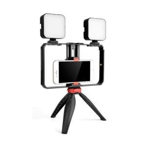 YELANGU PC203 YLG1801C Vlogging Live Broadcast LED Selfie Light Smartphone Video Rig Handvat stabilisator plastic beugel statiefkits