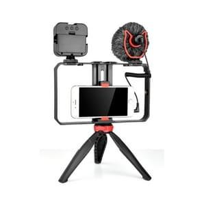 YELANGU PC204 YLG1801D Vlogging Live Broadcast LED Selfie Light Smartphone Video Rig Handle Stabilizer Bracket Kits met microfoon & statief
