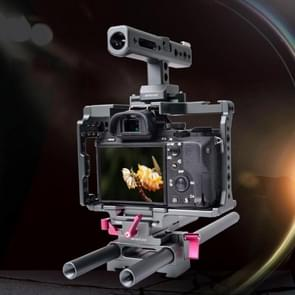WARAXE 2798 Quick Release SmallRig Camera Kits with Camera Cage & Handle & Rods & Rail Support System & HDMI Clamp for Sony A7 & A7S & A7R & A7R II & A7S II(Grey)