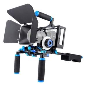 YELANGU D222 Dual verwerkt Camera schouder Mount + Camera kooi stabilisator Kit met Matte Box + Follow Focus voor DSLR Camera / videocamera
