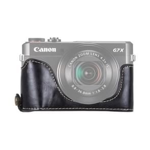 1/4 inch Thread PU Leather Camera Half Case Base for Canon G7 X Mark II (Black)