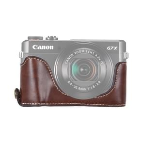 1/4 inch Thread PU Leather Camera Half Case Base for Canon G7 X Mark II (Coffee)