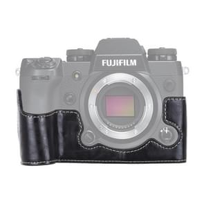 1/4 inch Thread PU Leather Camera Half Case Base for FUJIFILM X-H1 (Black)