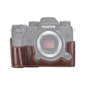 1/4 inch draad PU lederen camera halve Case Base voor FUJIFILM X-H1 (koffie)