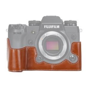 1/4 inch draad PU lederen camera halve Case Base voor FUJIFILM X-H1 (bruin)