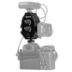 BOYA BY-MP4 2-channel Audio Adapter with Mono & Stereo Switch Dual Mic Mounting for DSLR Cameras, Camcorders, Smartphones (Black)