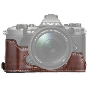 1/4 inch draad PU lederen camera halve Case Base voor Olympus EM5/EM5 Mark II (koffie)