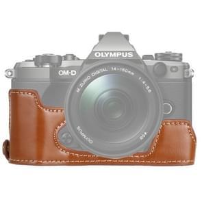 1/4 inch Thread PU Leather Camera Half Case Base for Olympus EM5 / EM5 Mark II (Brown)