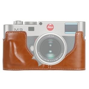 1/4 inch draad PU lederen camera half Case Base voor Leica M9 (bruin)