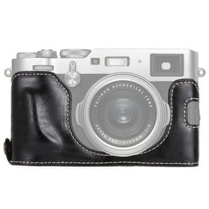 1/4 inch Thread PU Leather Camera Half Case Base for FUJIFILM X100F (Black)