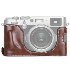 1/4 inch Thread PU Leather Camera Half Case Base for FUJIFILM X100F (Coffee)