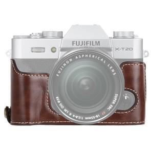 1/4 inch draad PU lederen camera halve Case Base voor FUJIFILM X-T10/X-T20 (koffie)