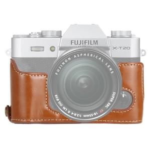 1/4 inch draad PU lederen camera halve Case Base voor FUJIFILM X-T10/X-T20 (bruin)