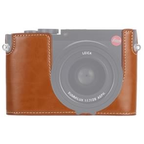 1/4 inch Thread PU Leather Camera Half Case Base for Leica Q (Typ 116)(Brown)