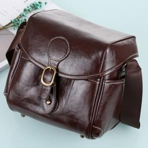 Draagbare digitale Camera schoudertas zachte PU lederen tas met riem  maat: 21 cm x 15 cm x 20 cm (koffie)
