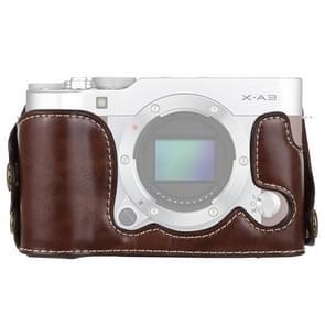 1/4 inch draad PU lederen camera halve Case Base voor FUJIFILM X-a3/X-A10 (koffie)