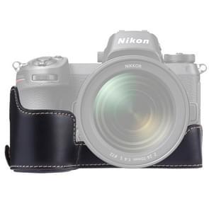 1/4 inch Thread PU Leather Camera Half Case Base for Nikon Z6 / Z7 (Black)