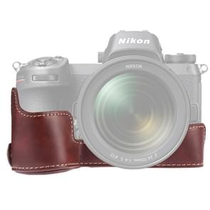 1/4 inch draad PU lederen camera half Case Base voor Nikon Z6/Z7 (koffie)