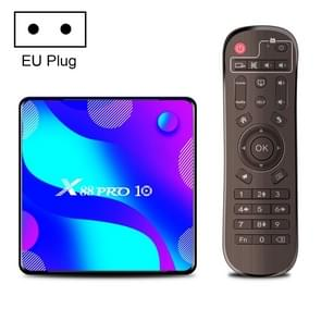 X88 Pro 10 4K Ultra HD Android TV Box met afstandsbediening  Android 10.0  RK3318 Quad-Core 64bit Cortex-A53  4GB+64GB  Ondersteuning Bluetooth / Dual-Band WiFi / TF-kaart / USB / AV / Ethernet(EU-stekker)