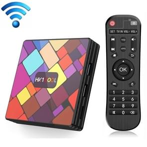 HK1COOL 4K UHD Smart TV Box with Remote Controller, Android 9.0 RK3318 Quad-core Cortex-A53, 4GB+128GB, Support WiFi & BT & AV & HDMI & RJ45 & TF Card