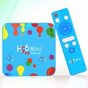H96 Mini H6 6K Smart TV BOX with Remote Controller, Android 9.0, 4GB+128GB, Support WiFi / HDMI / USB / AV(Blue)