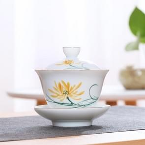 Hand Painting Ceramic Kungfu Teaware Teacup with Cover(Daisy)
