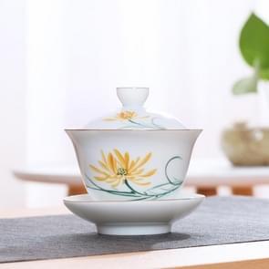 Hand schilderij keramische Kungfu Teaware theekopje met deksel (Daisy)