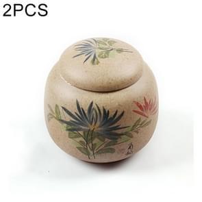 2 PCS Hand-painted Ceramics Kung Fu Teaset Tea Cans(Chrysanthemum)