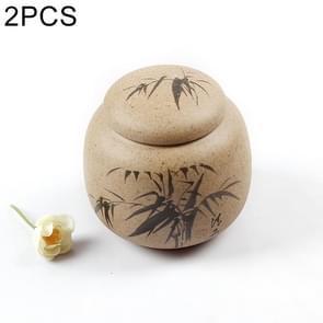 2 PCS Hand-painted Ceramics Kung Fu Teaset Tea Cans(Bamboo)