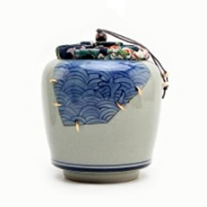 Portable Hand-painted Antique Ceramics Tea Cans Sealed Storage Tank(Blue Waves)