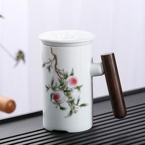 Enamel Ceramic Tea Cup Set with Cup Cover & Filter Cup, Pattern: Good Luck and Long Life