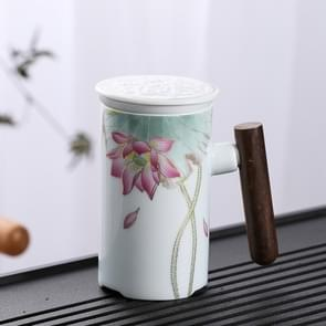 Enamel Ceramic Tea Cup Set with Cup Cover & Filter Cup, Pattern: Water Lotus