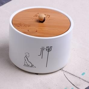 Ceramic Sealed Storage Tea Can, Size: 10 x 7cm, Chinese Characters: Zen