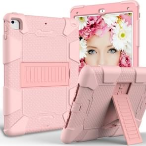 Shockproof Two-color Silicone Protection Shell for iPad 9.7(2018) & 9.7(2017) & Air 2, with Holder(Rose Gold)