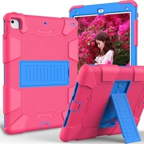 Shockproof Two-color Silicone Protection Shell for iPad 9.7(2018) & 9.7(2017) & Air 2, with Holder(Rose Red+Blue)