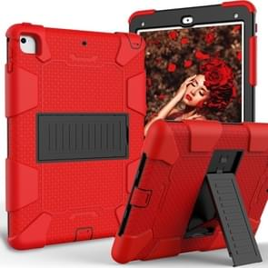 Shockproof Two-color Silicone Protection Shell for iPad 9.7(2018) & 9.7(2017) & Air 2, with Holder(Red+Black)