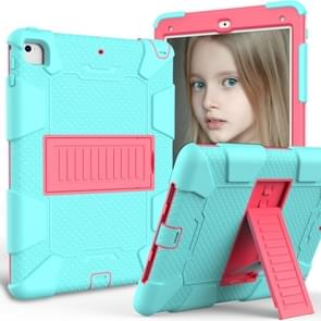 Shockproof Two-color Silicone Protection Shell for iPad 9.7(2018) & 9.7(2017) & Air 2, with Holder(Mint Green+Rose Red)