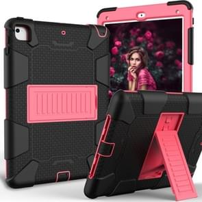 Shockproof Two-color Silicone Protection Shell for iPad 9.7(2018) & 9.7(2017) & Air 2, with Holder(Black+Red)