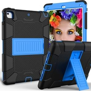 Shockproof Two-color Silicone Protection Shell for iPad 9.7(2018) & 9.7(2017) & Air 2, with Holder(Black+Blue)