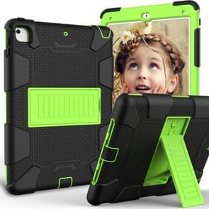 Shockproof Two-color Silicone Protection Shell for iPad 9.7(2018) & 9.7(2017) & Air 2, with Holder(Black+Yellow-green)