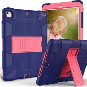 Shockproof Two-color Silicone Protection Shell for iPad 9.7(2018) & 9.7(2017) & Air 2, with Holder(Navy Blue+Rose Red)