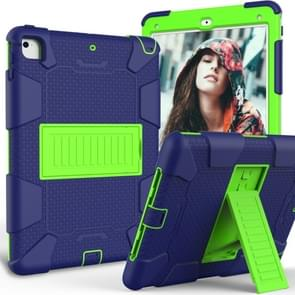 Shockproof Two-color Silicone Protection Shell for iPad 9.7(2018) & 9.7(2017) & Air 2, with Holder(Navy Blue+Yellow-green)